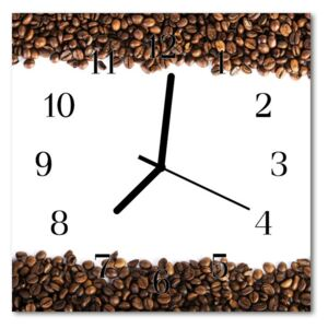 Glass Kitchen Clock Coffee beans food and drinks brown 30x30 cm