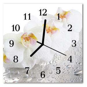 Glass Kitchen Clock Orchid flowers white 30x30 cm