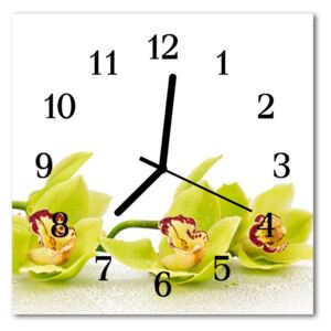 Glass Kitchen Clock Orchid flowers yellow 30x30 cm