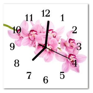 Glass Kitchen Clock Orchid flowers pink 30x30 cm