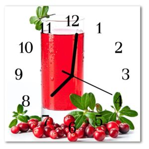 Glass Wall Clock Cranberry cranberry red 30x30 cm