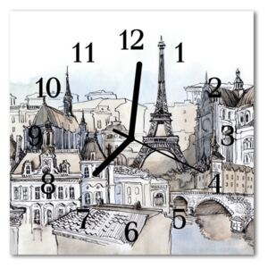 Glass Wall Clock Monuments towns grey 30x30 cm