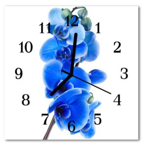 Glass Wall Clock Orchid flowers blue 30x30 cm