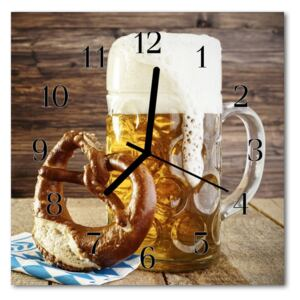 Glass Wall Clock Beer pretzel food and drinks brown 30x30 cm