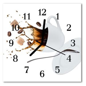 Glass Wall Clock Cup food and drinks white 30x30 cm
