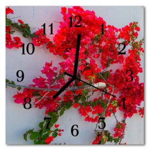 Glass Wall Clock Flowers flowers red 30x30 cm