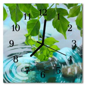 Glass Wall Clock Leaves nature green 30x30 cm