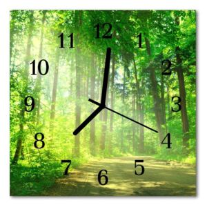 Glass Wall Clock Forest nature wlad nature green 30x30 cm