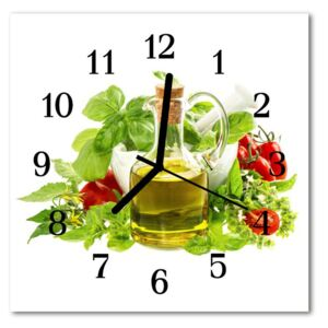 Glass Wall Clock Oil basil food and drinks multi-coloured 30x30 cm
