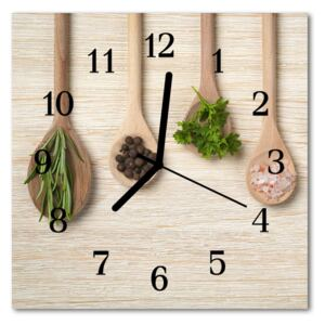 Glass Wall Clock Wooden spoon wooden spoon brown 30x30 cm