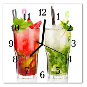 Glass Wall Clock Cocktails beverages red, green 30x30 cm