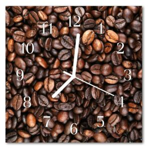 Glass Wall Clock Coffee beans food and drinks brown 30x30 cm