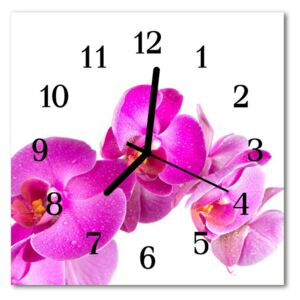 Glass Wall Clock Orchid flowers pink 30x30 cm