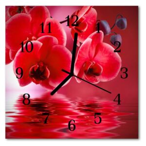 Glass Wall Clock Orchid flowers red 30x30 cm