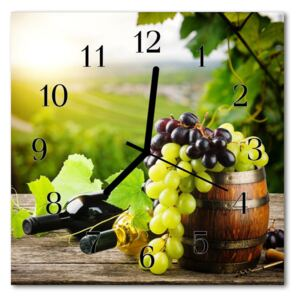 Glass Wall Clock Grapes wine food and drinks multi-coloured 30x30 cm