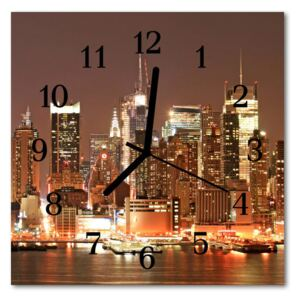 Glass Wall Clock Skyline beverages multi-coloured 30x30 cm