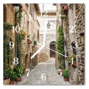 Glass Wall Clock Alley architecture brown 30x30 cm