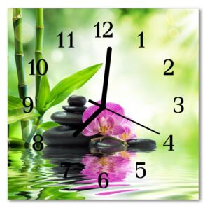 Glass Wall Clock Orchid spa flowers spa green 30x30 cm