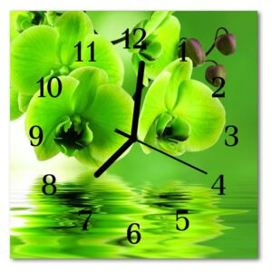 Glass Wall Clock Orchid flowers green 30x30 cm