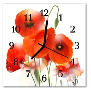 Glass Wall Clock Poppies poppies red 30x30 cm
