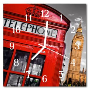 Glass Wall Clock London beverages red 30x30 cm