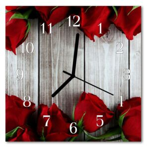 Glass Wall Clock Rose boards flower boards red 30x30 cm