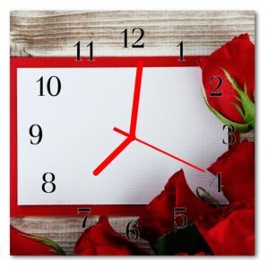 Glass Wall Clock Roses flowers red 30x30 cm