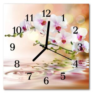 Glass Wall Clock Orchid flowers multi-coloured 30x30 cm