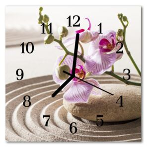 Glass Wall Clock Sand orchid sand flowers pink 30x30 cm