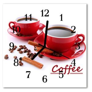 Glass Wall Clock Cup of coffee food and drinks red 30x30 cm