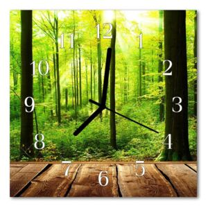 Glass Wall Clock Forest forest green 30x30 cm
