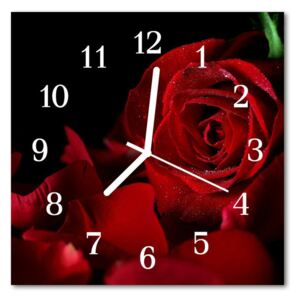 Glass Wall Clock Rose flowers red 30x30 cm