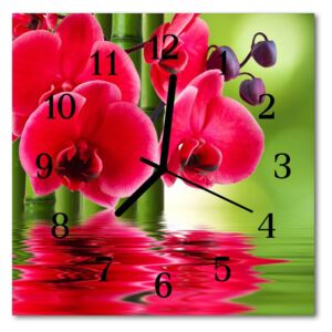 Glass Wall Clock Orchid nature red 30x30 cm