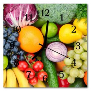 Glass Wall Clock Fruits vegetables fruits food and drinks multi-coloured 30x30 cm