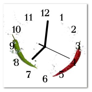 Glass Wall Clock Chillies vegetables white 30x30 cm