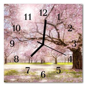 Glass Wall Clock Cherry trees nature pink 30x30 cm
