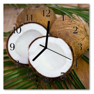 Glass Wall Clock Coconuts food and drinks brown 30x30 cm