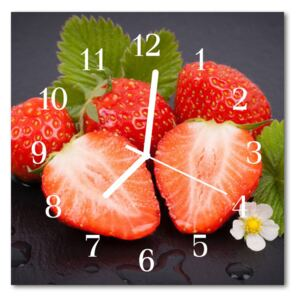 Glass Wall Clock Strawberries fruit red 30x30 cm