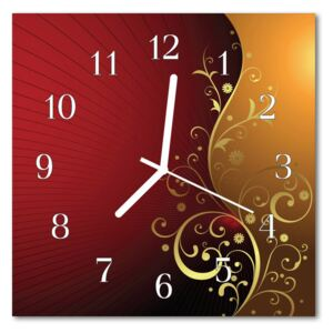 Glass Wall Clock Abstract art red 30x30 cm