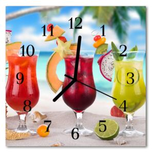Glass Wall Clock Cocktail food and drinks multi-coloured 30x30 cm