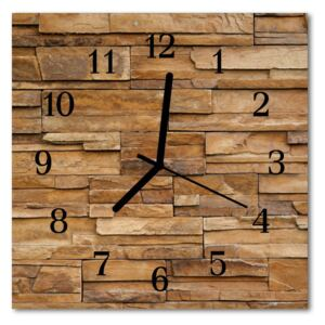 Glass Wall Clock Clinker architecture brown 30x30 cm