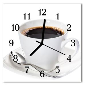 Glass Wall Clock Coffee food and drinks white 30x30 cm