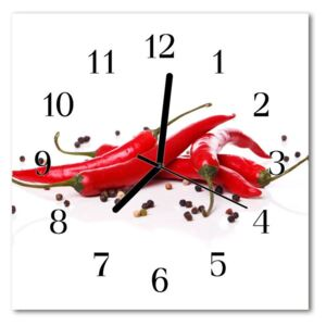 Glass Wall Clock Chillies food and drinks white 30x30 cm