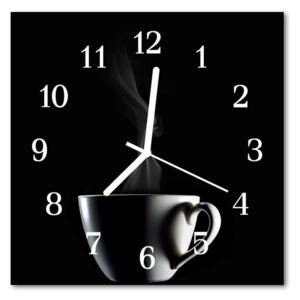 Glass Wall Clock Cup food and drinks black 30x30 cm