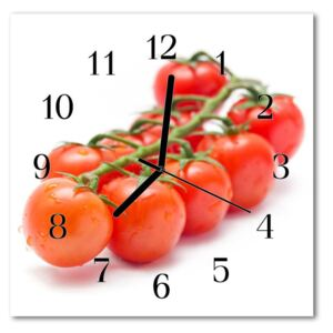Glass Wall Clock Tomatoes food and drinks red 30x30 cm