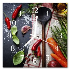Glass Wall Clock Spices food and drinks multi-coloured 30x30 cm