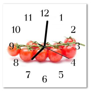 Glass Wall Clock Tomatoes food and drinks white 30x30 cm