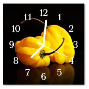Glass Wall Clock Paprika food and drinks yellow 30x30 cm