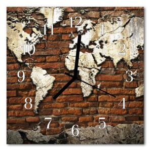 Glass Wall Clock Continents continents brown 30x30 cm