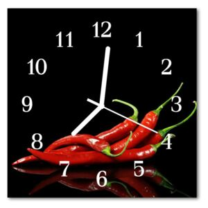Glass Wall Clock Chillies food and drinks black 30x30 cm